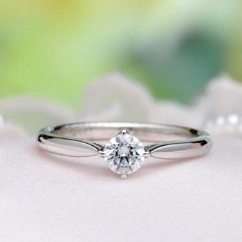 婚約指輪   超高級ダイアモンド0.25ct D,VVS1,3EX,H&C、リングのフレームと爪が一体感のあるシンプルでおしゃれな指輪 EQ3241-25C1