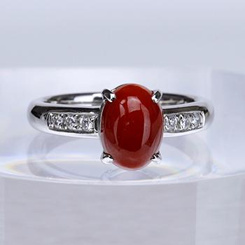 ★特別価格★血赤珊瑚指輪  しっかりした作りの高級サンゴリング【PS加工済】