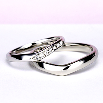 結婚指輪ペア  Pt 女性用はH&Cカットのダイヤで作った引っ掛かりの少ない精巧な作りの高級な指輪, MpNJ15L改h7-M