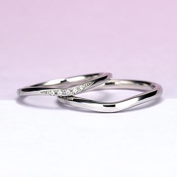 結婚指輪ペア  プラチナ  緩やかなV字デザインのリング MpTRM213n-214-Pt900