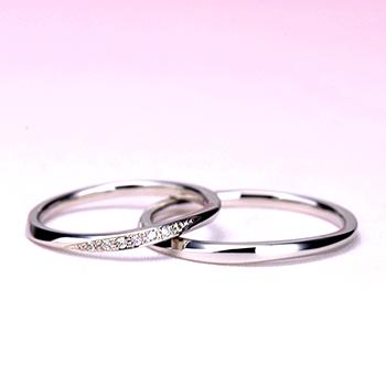 【スーパーハードプラチナ】結婚指輪ペア  非常に丈夫な 細身の緩やかなウェーブデザインのリング MpTRM211n-212