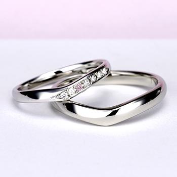 結婚指輪ペア【ハードプラチナ】女性用はピンクダイヤとH&Cカットのダイヤで作った引っ掛かりの少ない精巧な作りの高級な指輪, MpNJ15L改p1h6-M-HP