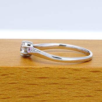 婚約指輪  高品質ダイア 脇にピンクサファイヤとメレーダイアが入った、緩やかなカーブの指輪 ENBR710ps-25FE1