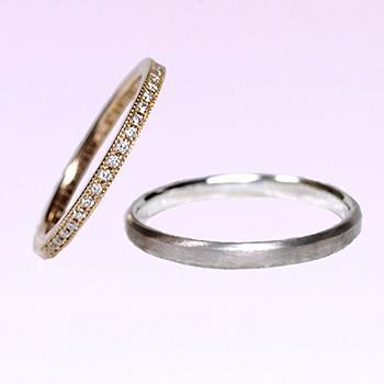 【永遠 Towa 】結婚指輪ペア   K18YGとK18WG  細めのミル打ちハーフエタニティリングとシンプルなリング MpHa10LM-YGWG