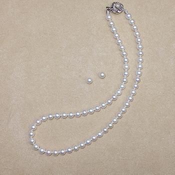 真珠ネックレス+イヤリング(ピアス)セット6.5〜7.0mm