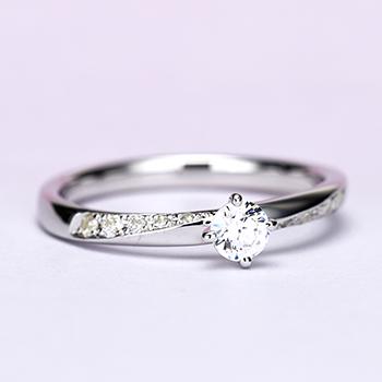 婚約指輪【Ella エラ 美しい妖精】Pt950H:ハードプラチナ 0.20ct,F,VS2,3EX,H&C