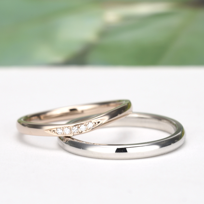 ブライダル3点セット【 鍛造 】 結婚指輪は変形やキズに非常に強いPt 鍛造リング。  鍛造では珍しい緩やかなやさしいウェーブデザイン BsEHa02-TZ003-004-Pt(鍛造)