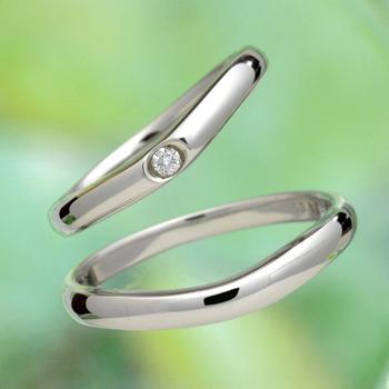 """【絆 ツインダイヤモンド】結婚指輪ペア(ハードプラチナ)ふたりの""""つながり"""" をいつも感じるこができるペアの指輪   MpTW02A"""