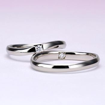 【絆 ツインダイヤモンド】3点セット  Pdツインダイヤモンド結婚指輪とPtダイヤモンド婚約指輪のセットBsJTR22TW01-PTPd-20GH6