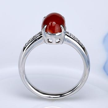 血赤珊瑚指輪  しっかりした作りの高級サンゴリング【PS加工済】