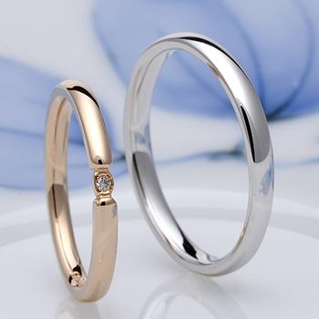 結婚指輪ペア  シンプルで優しい雰囲気のストレートデザイン結婚指輪  ピンクゴールドとプラチナ MpDS0833-PGPt