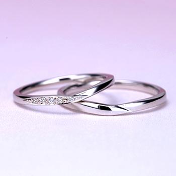 【 スーパーハードプラチナ 】結婚指輪ペア 細身だけど変形やキズに非常に強く丈夫なプラチナのウェーブ(V字)デザインリング MpTRM209-210-Pt900SH