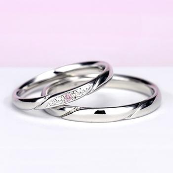 結婚指輪ペア【ハードプラチナ】【ピンクダイヤ+H&Cダイヤ】女性用はダイヤの部分が滑らかで引っかかりが少ないので長年使用する結婚指輪に相応しい MpO11DAphO13-H