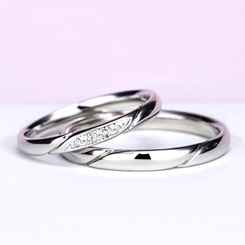結婚指輪ペア【ハードプラチナ】お洒落なストレートデザイン【H&Cダイヤ】女性用はダイヤの部分が滑らかで引っかかりが少ないので長年使用する結婚指輪に相応しい MpO11DAhO13-H
