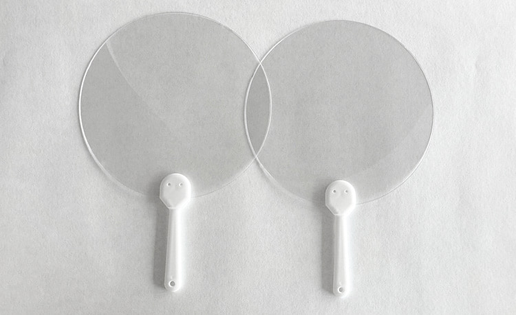 【うちわhandy(ハンディ):透明タイプ 】 飛沫対策シールド  結婚式やイベント等の飛沫対策に  5枚入り