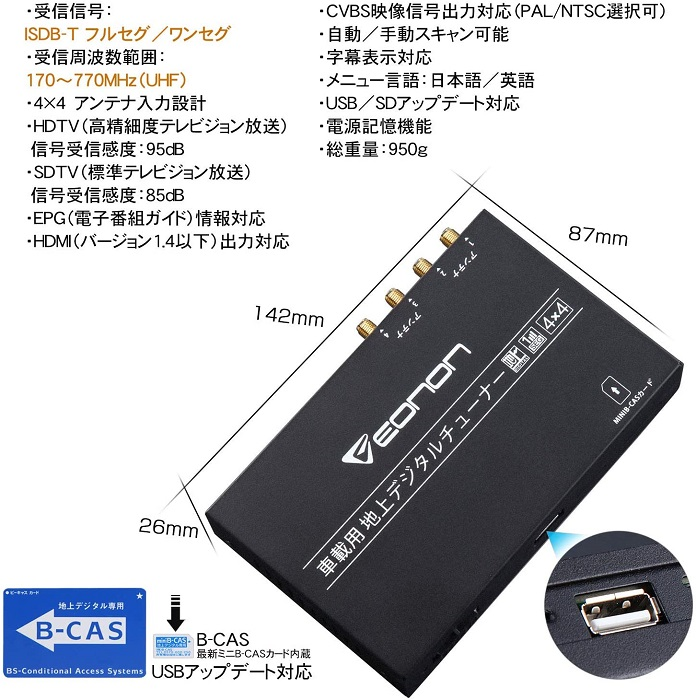 EONON 地デジチューナー V0050 4×4高感度フルセグチューナー 12-24V車対応 HDMI出力対応 自動中継局サーチ 車載