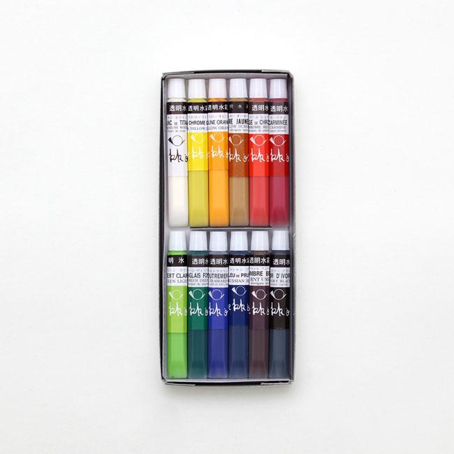 透明水彩絵の具 基本12色セット