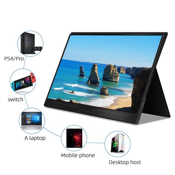 【新品】 GieS 15.6インチ 4K極薄型 モバイルモニター[HS156KE](IPS液晶パネル/ HDR/ 4K UHD/ スピーカー内蔵/ USB-PD対応)