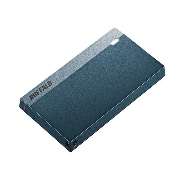 【新品】 Buffalo 120GB 外付けSSD USB 3.2(Gen 1)対応 超小型ポータブルSSD モスブルー [SSD-PSM120U3-MB]