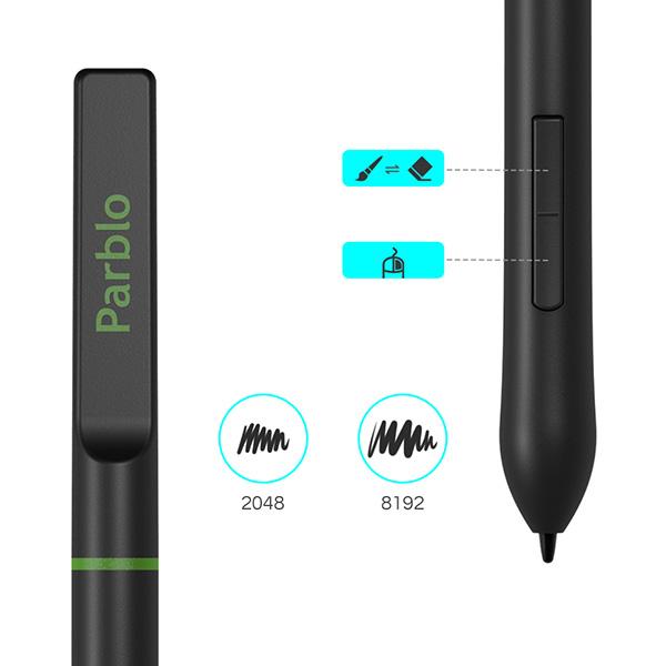 【新品】Parblo ペンタブレット 黒 [A640 V2] (Windows/ macOS/ Android 対応/OTGアダプタ付き)