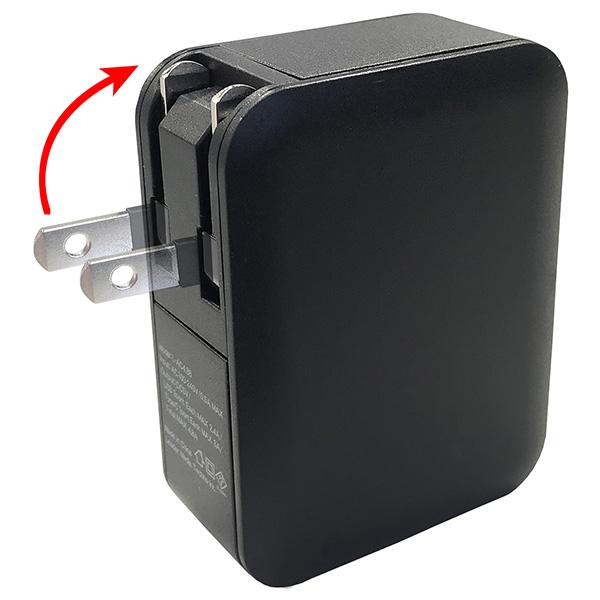 【新品】 Lazos AC充電器4口 4.8A (USBx3+TypeCx1)  ブラック [L-AC4.8B]