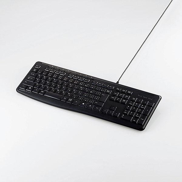 【新品】ELECOM 有線静音フルキーボード [TK-FCM090SBK]