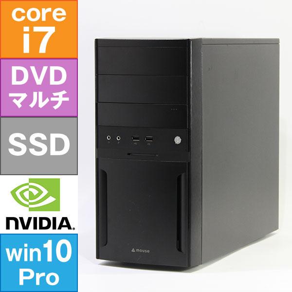 【良品中古】 MouseComputer H110M4-M01 [LM-iG440SN-SH2] (Core i7-7700 3.6GHz/ メモリ16GB/ SSD240GB+HDD1.0TB/ GeForce GTX1050 2GB/ 10Pro64bit)