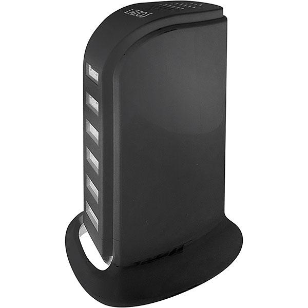 【新品】Lazos USB 6ポート AC充電器 ブラック [L-AC6-B] (合計出力最大 6A-30W/ 1ポート最大2.4A)