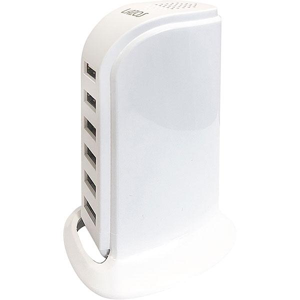【新品】Lazos USB 6ポート AC充電器 ホワイト [L-AC6-W] (合計出力最大 6A-30W/ 1ポート最大2.4A)