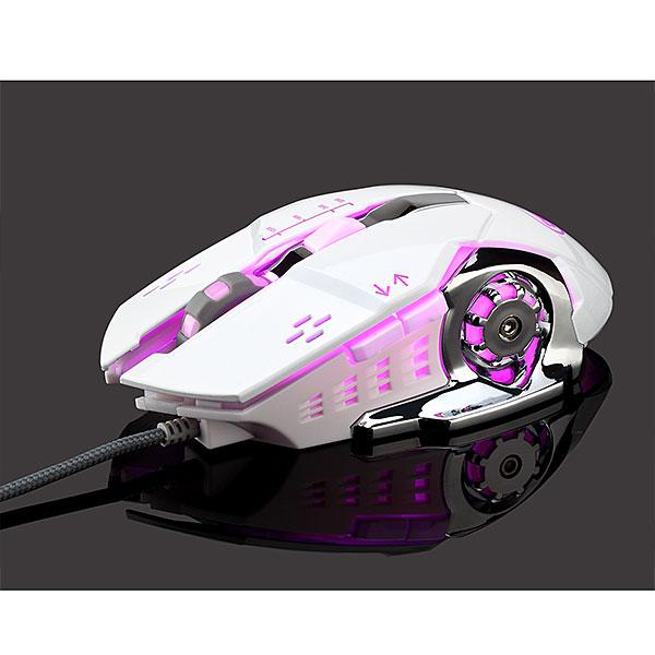 【新品】Lazos 有線ゲーミングマウス 6ボタン ホワイト [L-MSG6-W]