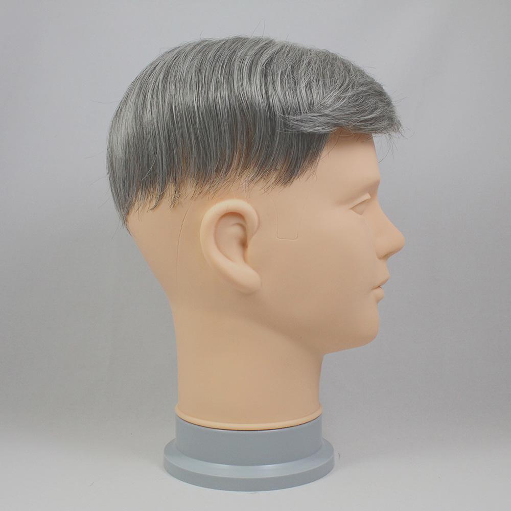 73スタイル G70(白髪70%)  [男性用総手植えオール合成繊維(ファイバー) 部分かつら]