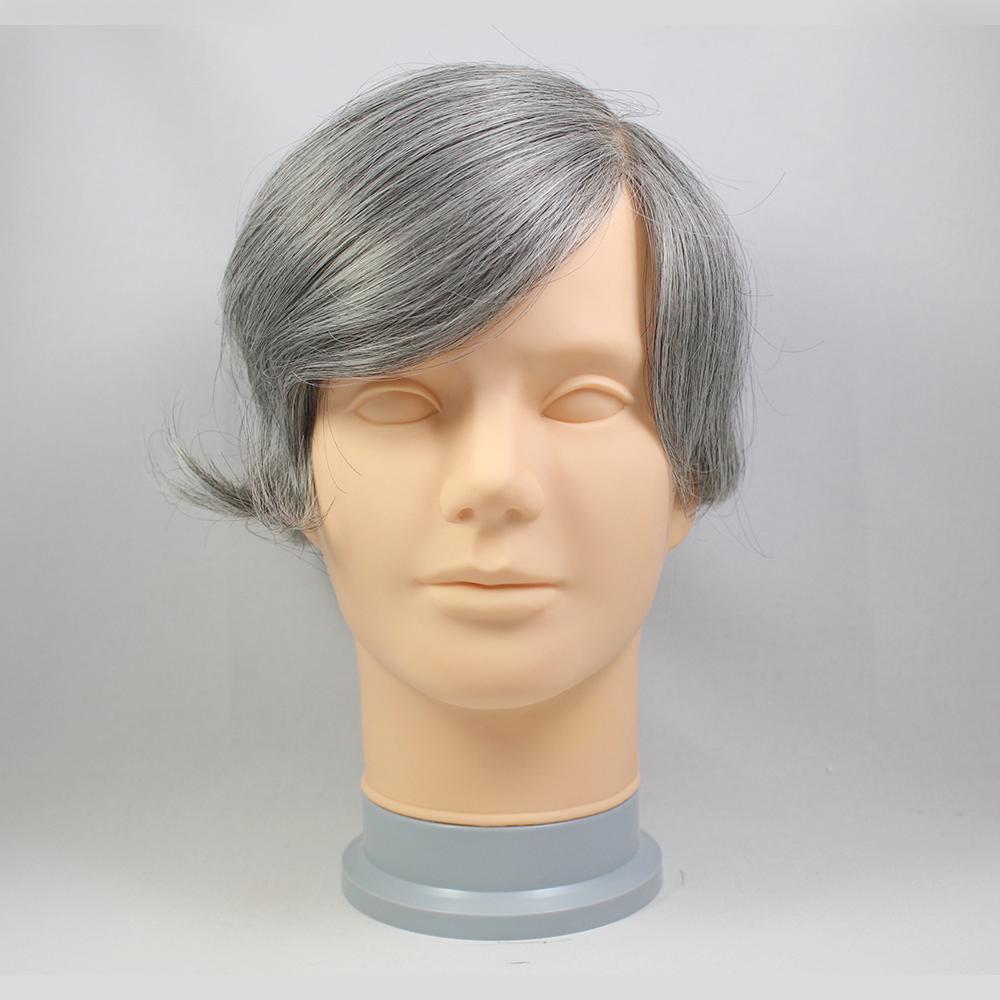 73スタイル G70(白髪70%) ノーカット [男性用総手植えオール合成繊維(ファイバー) 部分かつら]OF