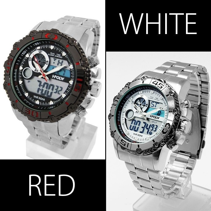 【デュアルタイム仕様】アナログ&デジタル・ビッグフェイス腕時計【全4色・BOX・保証書付き】0925