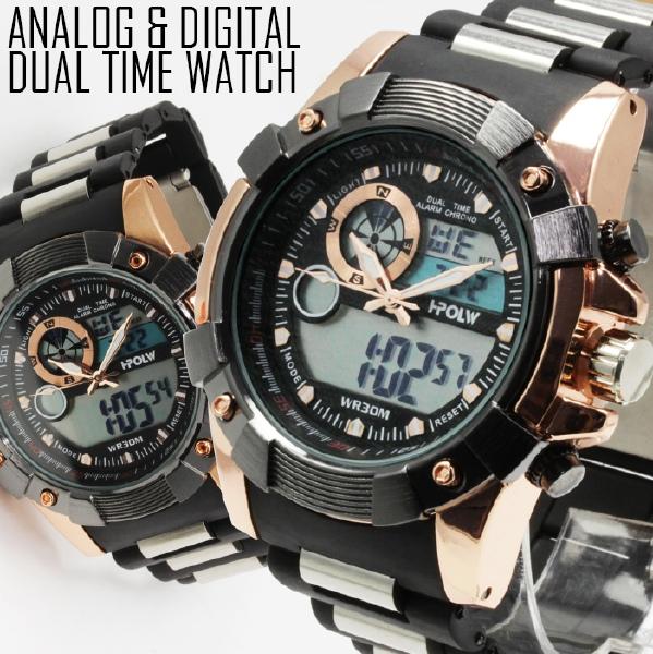 【デュアルタイム仕様】アナログ&デジタル・ビッグフェイス腕時計【BOX・保証書付き】