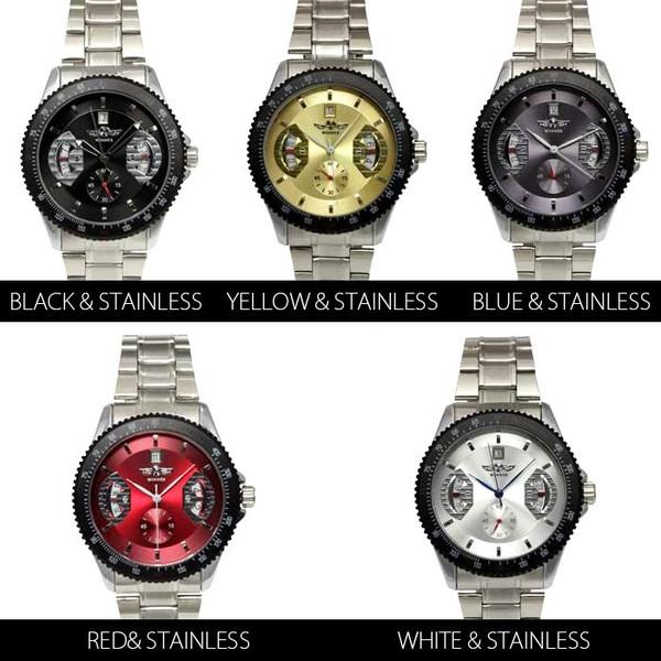 【カレンダー機能付き】自動巻バックスケルトン腕時計【全5色・2タイプ・保証書付き】BCG5