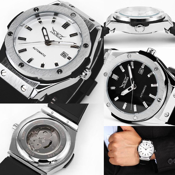 【カレンダー能付き】42mmフェイスバックスケルトン自動巻き腕時計【保証書付】BCG102