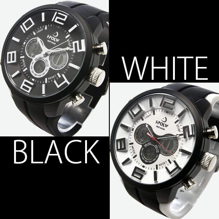 【デュアルタイム仕様】アナログ&デジタル・ビッグフェイス腕時計【全5色・BOX・保証書付き】