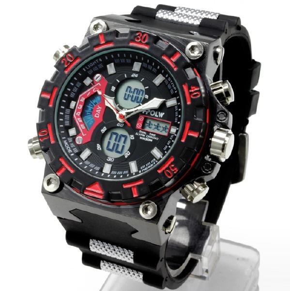 【デュアルタイム仕様】アナログ&デジタル・ビッグフェイス腕時計【BOX・保証書付き】0925