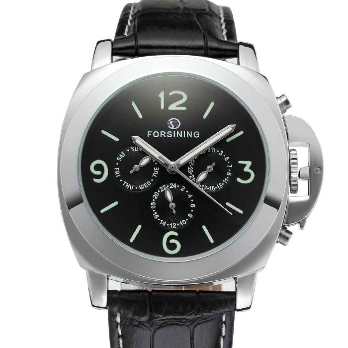 【全針稼動の本格仕様】44mmフェイス自動巻きマルチカレンダー腕時計【保証書付き】BCG413 クロノグラフ