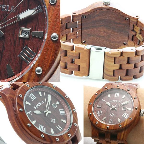 【全面ウッド仕様】CITIZEN MIYOTAムーブメント仕様 天然木 カレンダー機能付きウッド腕時計【全2色・BOX・1年保証付き】
