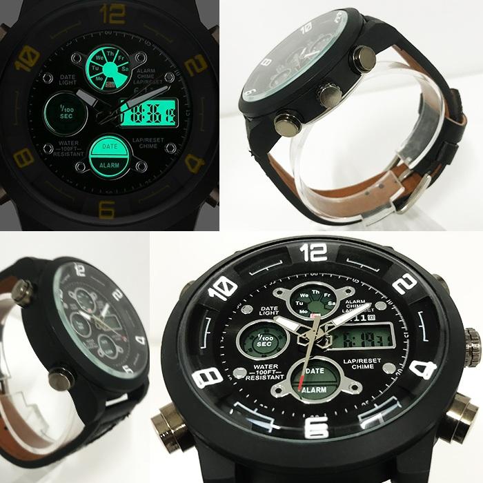 【デュアルタイム仕様】アナログ&デジタル・ビッグフェイス腕時計【全4色・BOX・保証書付き】