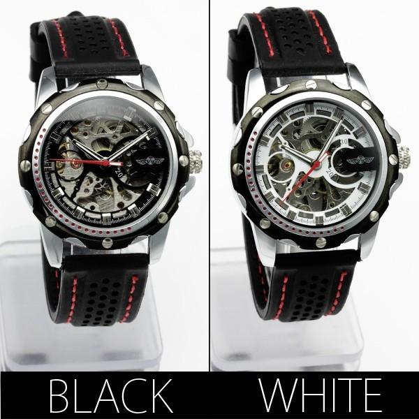 【ギミックの効いた仕上がり】フルスケルトン自動巻き腕時計【全2色・保証書付き】BCG96