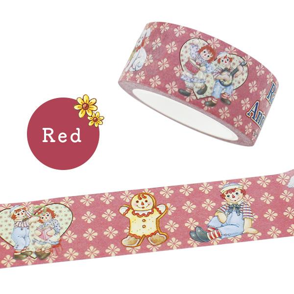 Raggedy Ann&Andy(ラガディ・アン&アンディ)マスキングテープ(Red) マステ