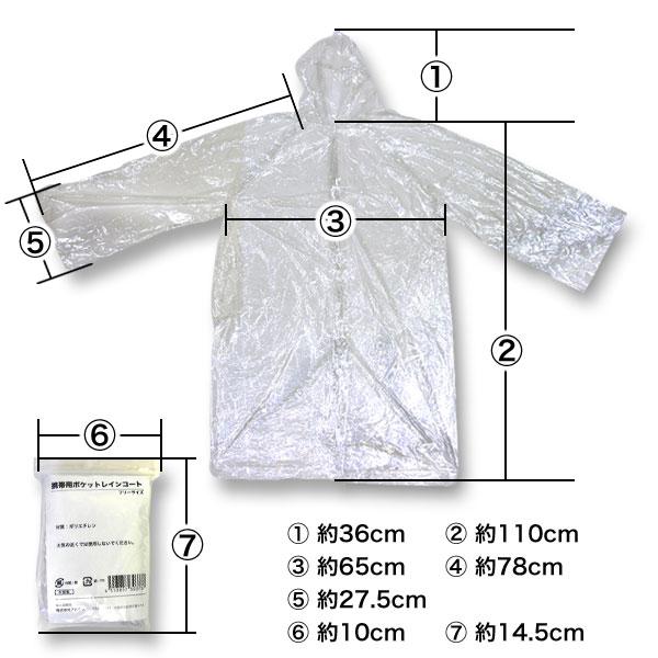 ポケットレインコート(ボタンタイプ・大人用・透明・100枚セット)