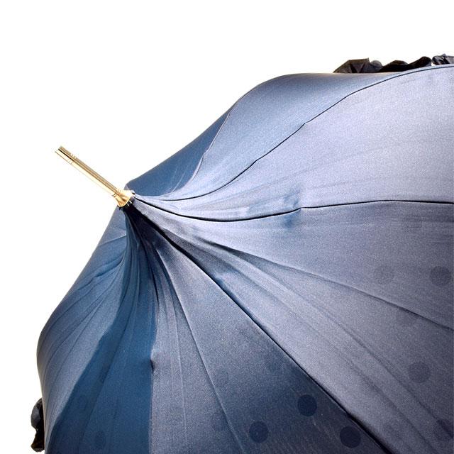 【モリーマレ】 長傘 W レイヤードドットネイビー