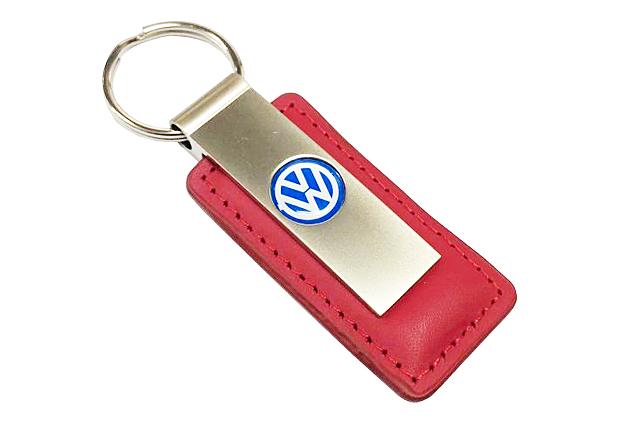VW US レザーキーチェーン メタルキータグ・レッド