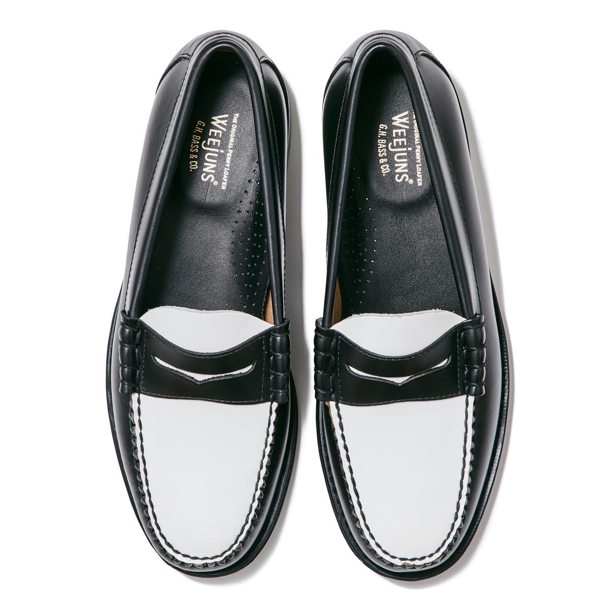 11010H LARSON / BLACK & WHITE (LEATHER SOLE)