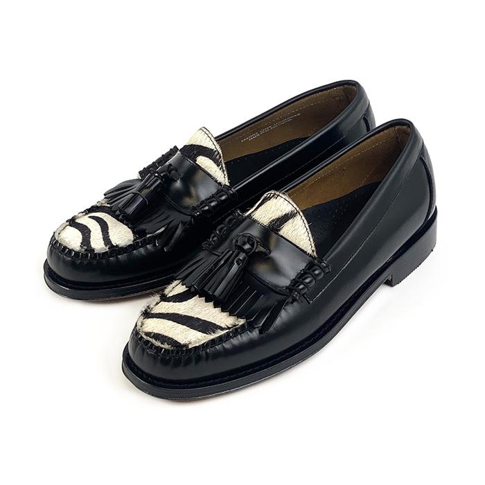 11028 / BLACK & ZEBRA (LEATHER SOLE)