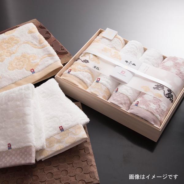 今治謹製 雲母唐長 コンパクトバスタオル2枚・ロングフェイスタオル2枚 KK79100 (今治製)