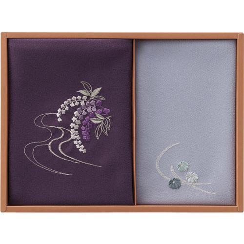 洛北 刺繍入り二巾風呂敷&刺繍入り金封包み [ 紫 ]